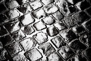 wet cobbled roadway